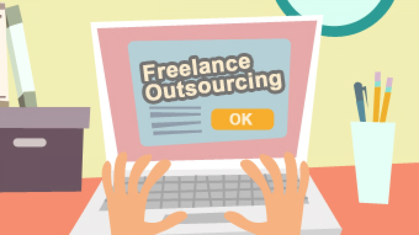 """Freelance Outsourcing"" flashed in the computer screen"