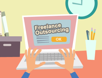 """""""Freelance Outsourcing"""" flashed in the computer screen"""