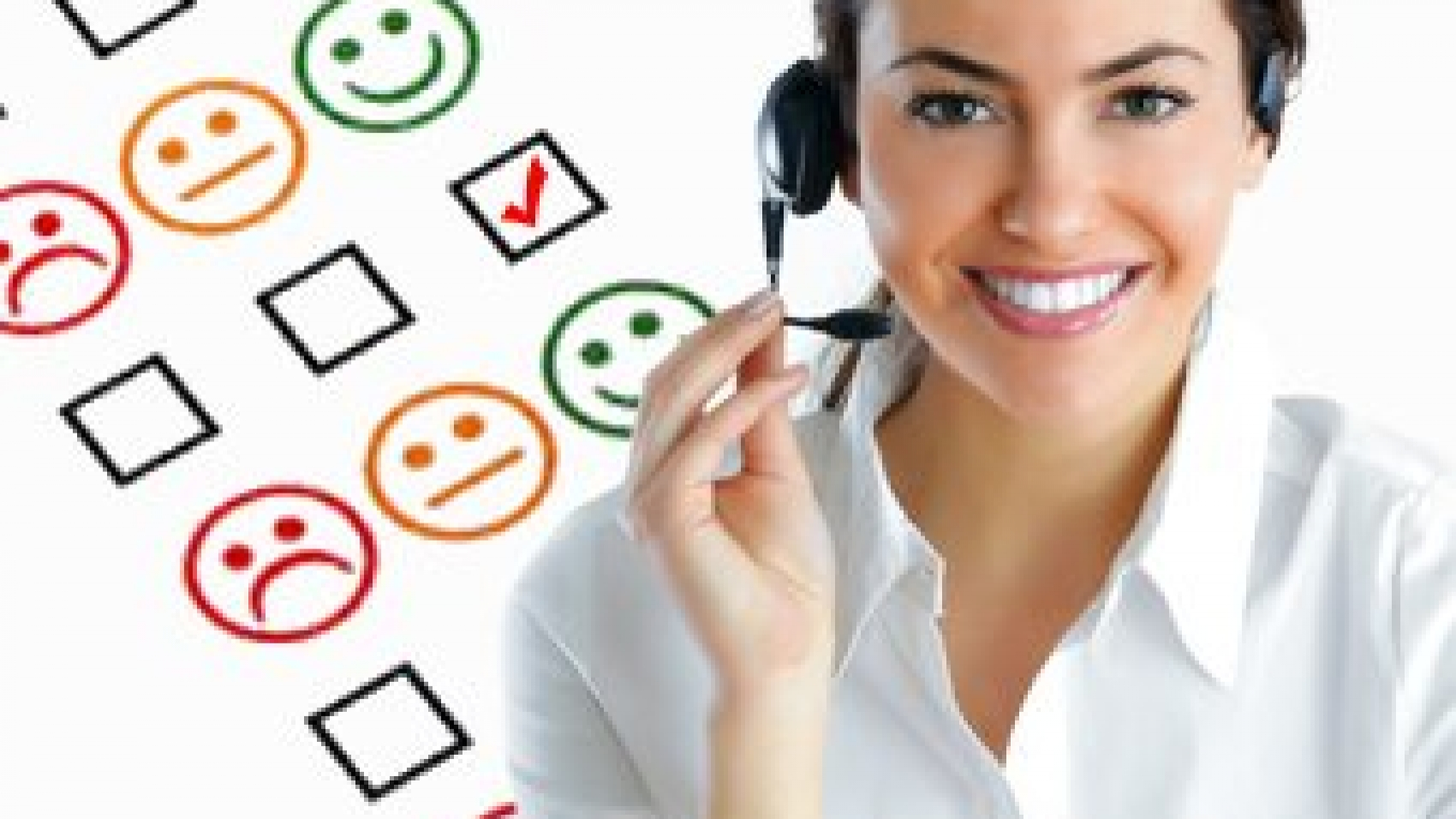 A smiling female outsource agent