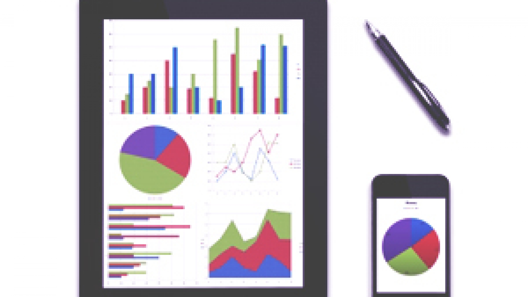 tablet and iPhone showing bar, graph, and pie charts