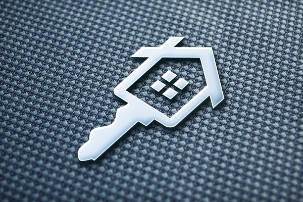 A combined logo of a house and key for logo