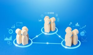 Teams connected in a network for outsourcing examples