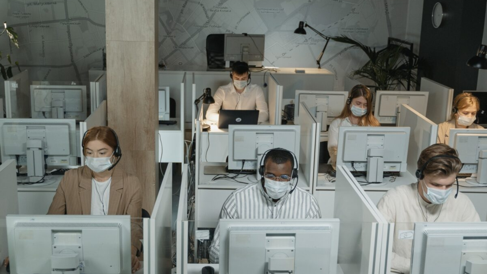 a room of a BPO company observing social safety protocols