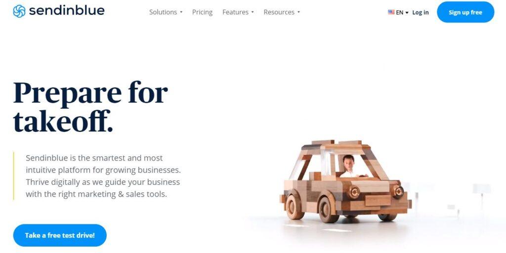 homepage of Sendinblue