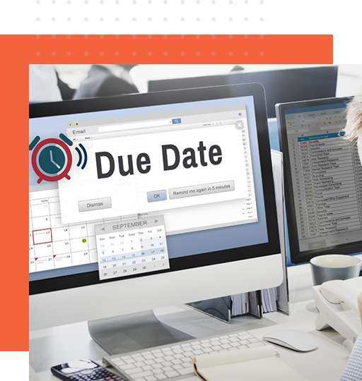 Image of a collection reminder software prompting due date on desktop