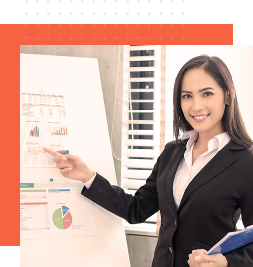 Data processing specialist presenting reports for data entry clerk services