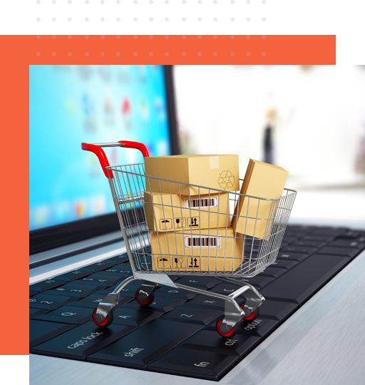A miniature cart on top of a laptop that signify e-commerce customer care from Outsource-Philippines