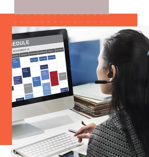 A schedule management rep arranges a client's calendar