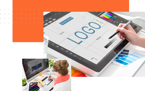 A designer making logo design examples using a pen tablet